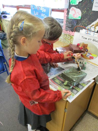 We painted our dinosaur models.