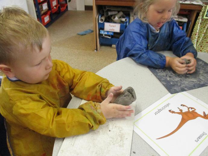 We had fun making clay dinosaurs.