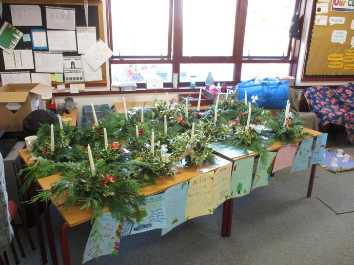 Year 5 Christmas wreath stall.