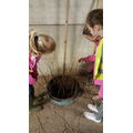 The girls measuring the willow