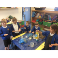 We sorted materials into solids, liquids and gases
