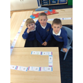 Numicon dominoes, all in line!