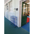 Reception door and lunch trolley.