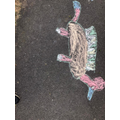 Super chalk dinosaur by Kaley