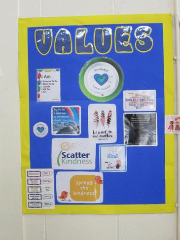 Our Values displayed in the hall
