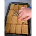Malted milk biscuits for paving stones.