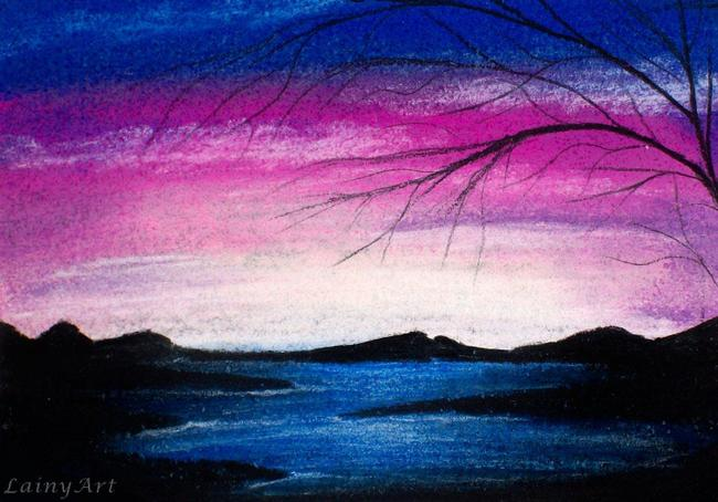 Blended pastel chalks creating a sunset effect
