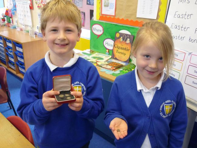 We loved looking at these very old and precious Maundy Thursday coins.