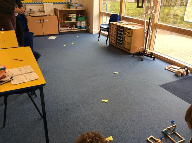 Using markers to judge the distance of the load