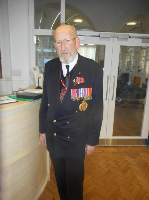 Mr Brown with his service medals