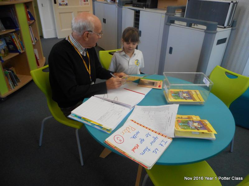 Peter is a volunteer who comes in to read with us on Thursdays.