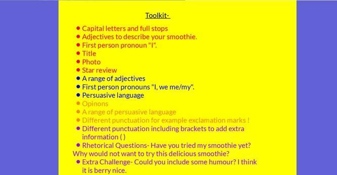 Use the toolkit to help you edit and improve your smoothie review!