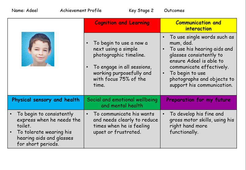Example of an Achievement Profile for Adeel