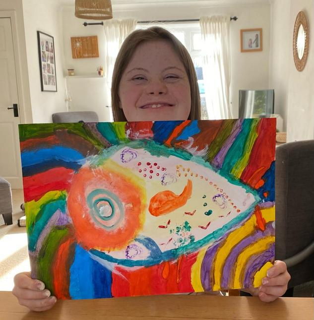 Daisy's fish in the style of Vincent Scarpace