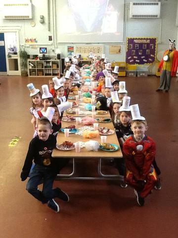 Year 2 enjoying the Mad Hatter's Tea Party.