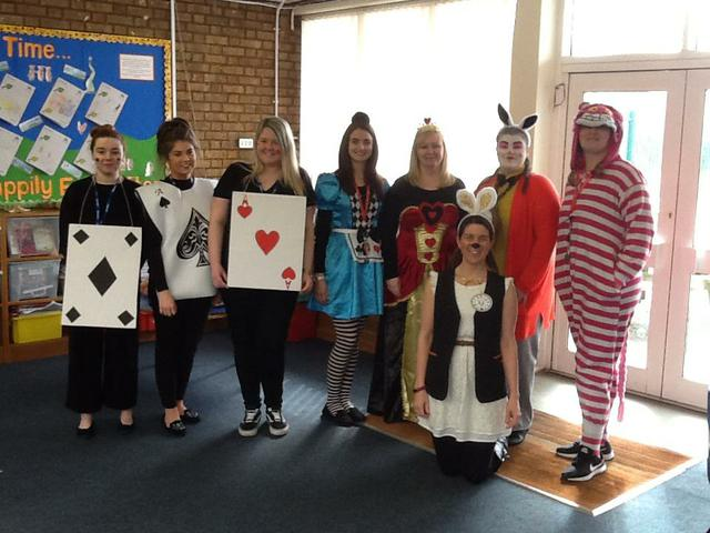 Year 2 teachers all dressed up.