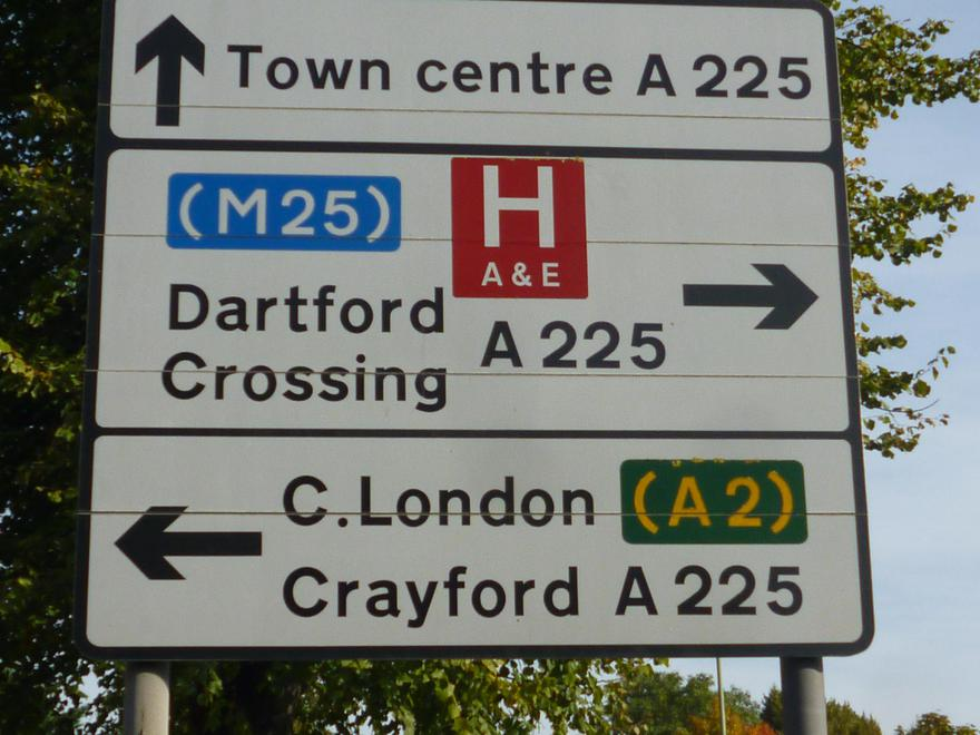 Sign showing local hospital