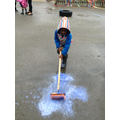 Moving the paint to another puddle.