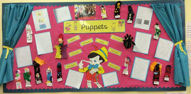 Class 3 display of our sock puppets