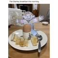 Flat Stanley enjoys breakfast