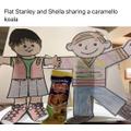 Flat Stanley & Sheila share a Caramello Koala bar