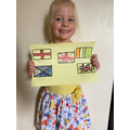 Lexi drew flags from the U.K.