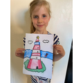 Indie used pastels to draw a lighthouse