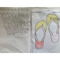 Fabulous flip flops and beach writing by Lucas.