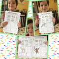 Teddy with his animal habitat fact file.