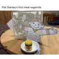 Flat Stanley's first meal of vegemite