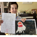 Teddy wrote facts about Jellyfish and painted one.