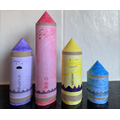Zac's colourful crayon models.