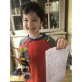 Teddy with his monster and descriptive writing