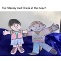 Flat Stanley met Sheila at the beach