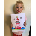Lexi's pastel drawing of a lighthouse