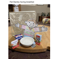 Flat Stanley having breakfast
