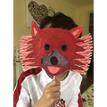 Teddy's red panda mask