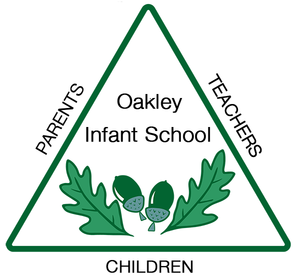 school logo triangle with 2 acorns and leaves in centre