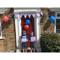 Thomas and Daniel celebrating VE Day.