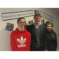 Greg Clark with two of our student ambassadors