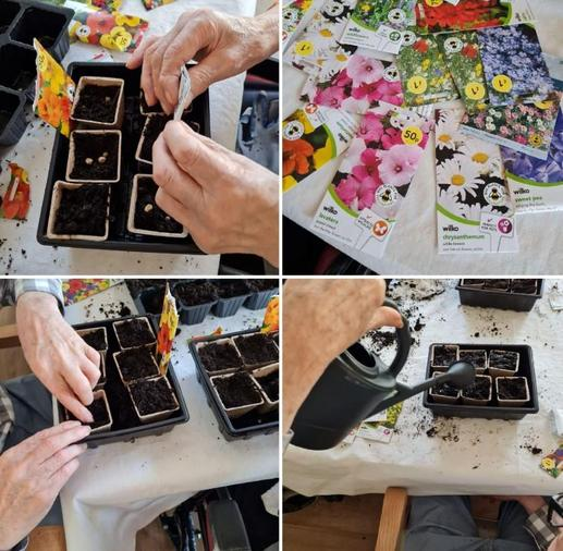 Residents at St Thomas planting seeds for us