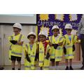 children dressing up in safety gear