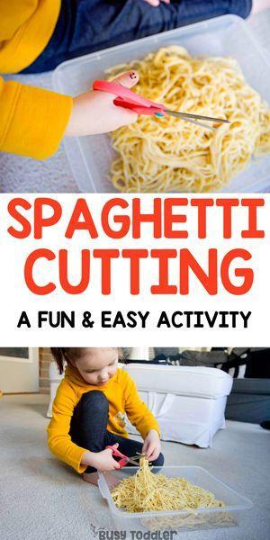 Practise snipping by cutting spaghetti