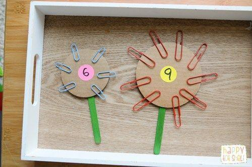 Count paperclips to make flowers