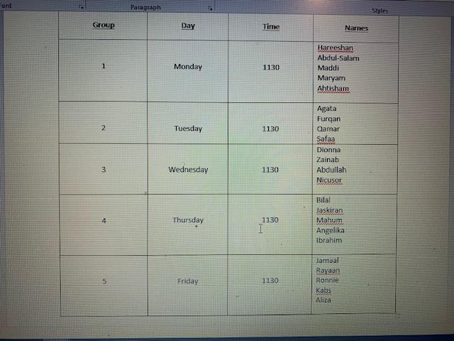 Red Kites Timetable NEW