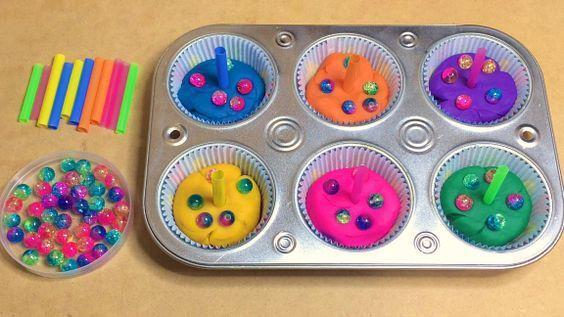 Make playdough cakes