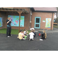 Solving maths problems outdoors in teams.