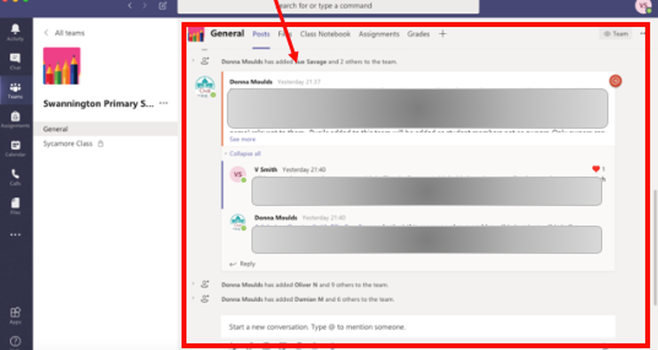 7. Click it and you can see whole school chat feed