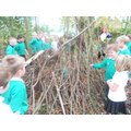 re-telling the story outdoors in our spinney!