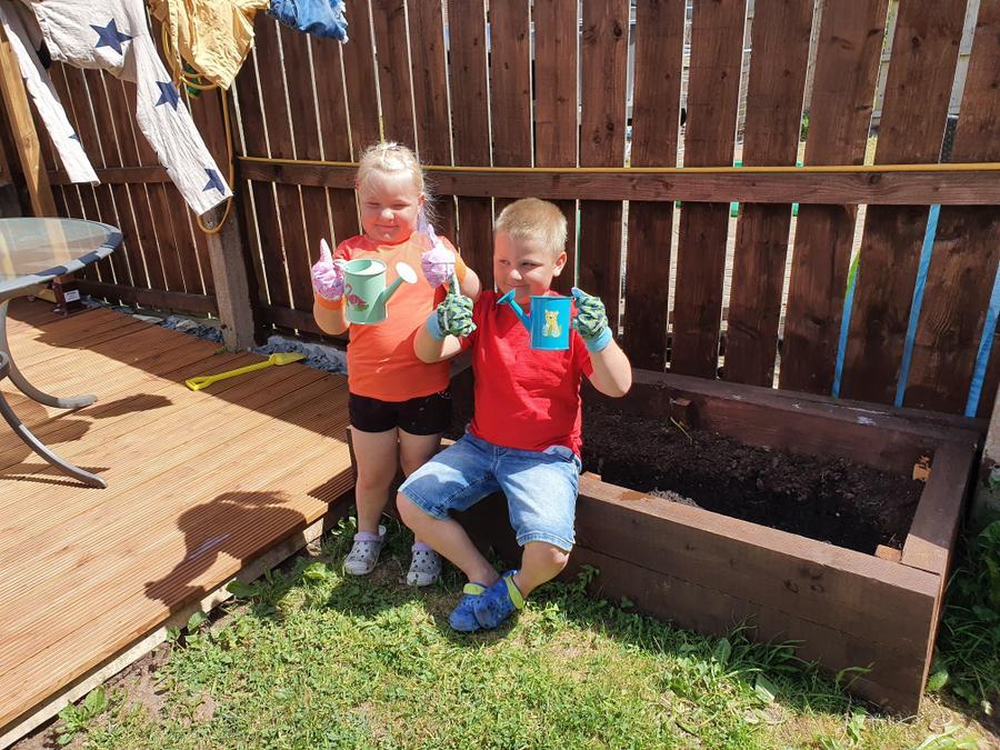 Oliver-Jack built a flower bed and planted seeds!